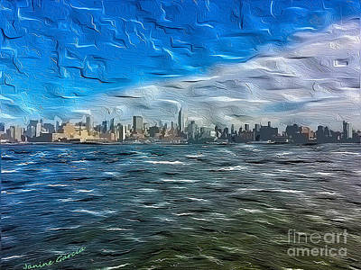 Citylife Digital Art - Manhattan Skyline by Janine Garcia
