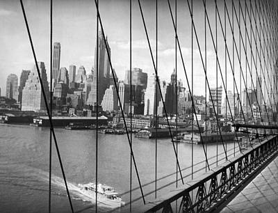 Vintage River Scenes Photograph - Manhattan Skyline by Underwood Archives