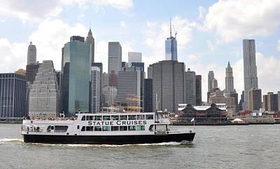 Manhattan Skyline With Boat Art Print by Diane Lent