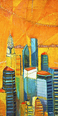 Painting - Manhattan Skyline With Chrysler Building by Habib Ayat