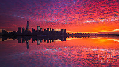 911 Memorial Photograph - Manhattan Sunrise Version 2  by Michael Ver Sprill