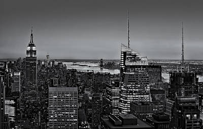Empire State Photograph - Manhattan Sunset Bw by Susan Candelario