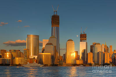 Gibbous Moon Photograph - Manhattan Sunset Reflections IIi by Clarence Holmes