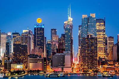 Photograph - Manhattan Supermoon by Mihai Andritoiu