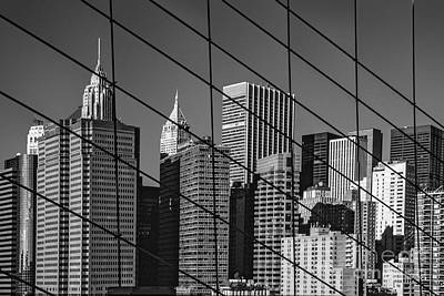 Photograph - Manhattan Through The Brooklyn Bridge by Liz Leyden