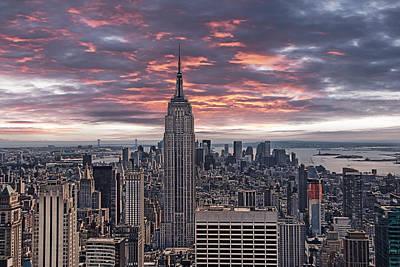 Manhattan Under A Red Sky Print by Joachim G Pinkawa