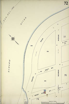 Harlem Drawing - Manhattan, V. 12, Plate No. 72 Map Bounded By Harlem River by Litz Collection