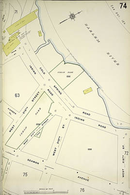 Harlem Drawing - Manhattan, V. 12, Plate No. 74 Map Bounded By Harlem River by Litz Collection