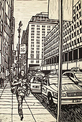 Lino Drawing - Manhattan by William Cauthern