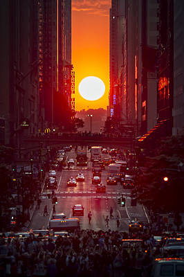 Skylines Royalty-Free and Rights-Managed Images - Manhattanhenge by Eduard Moldoveanu