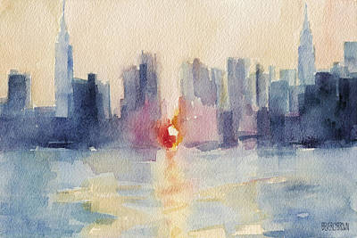 Contemporary Watercolor Painting - Manhattanhenge New York Skyline Painting by Beverly Brown