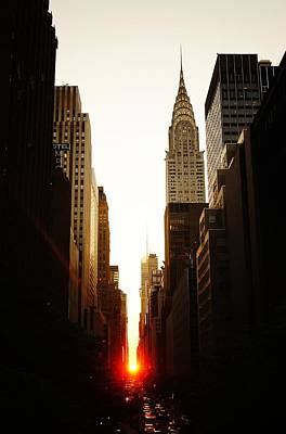 Manhattanhenge Sunset And The Chrysler Building  Art Print