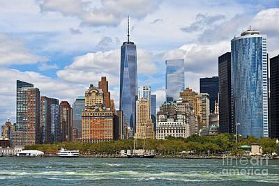 Manhattan's Financial District Skyline  Art Print by Peter Dang