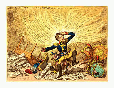 Maniac-ravings Or Little Boney In A Strong Fit, Gillray Art Print by French School
