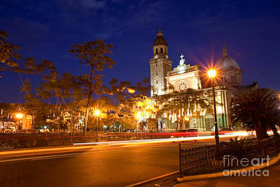 Immaculate Photograph - Manila Cathedral At Night Philippines by Fototrav Print