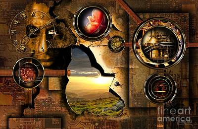 Steampunk Digital Art - Manipulation Of The Human Reality by Franziskus Pfleghart