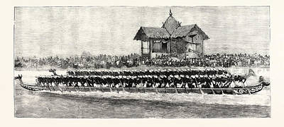 Outrigger Drawing - Manipur In Time Of Peace A Native Canoe-race by English School