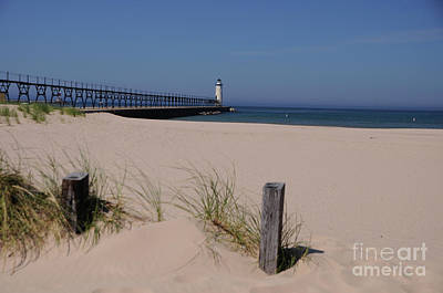 Photograph - Manistee Harbor Lighthouse From Beach by Ronald Grogan