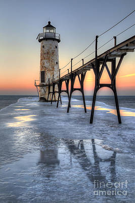 Chicago Photograph - Manistee Lighthouse At Sunet by Twenty Two North Photography