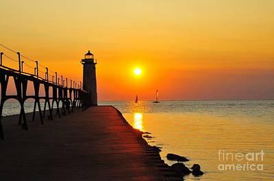 Manistee Lighthouse Sunset Art Print
