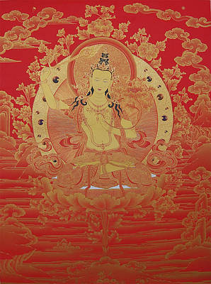 Vajrayana Painting - Manjusri The Gentle Glory by Binod Art School