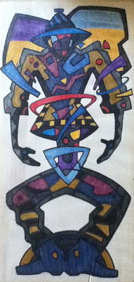 Manscape Drawing - Manland by Linda Gail Sanders