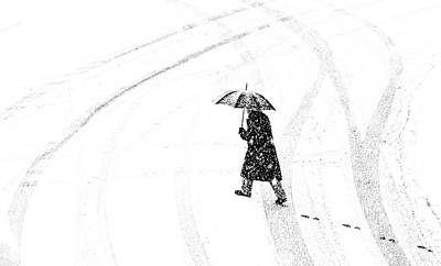 Snowfall Photograph - Mann Mit Schirm /a Man Of Umbrellaed by Anette Ohlendorf