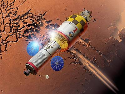 Space Exploration Photograph - Manned Mission To Mars by Detlev Van Ravenswaay
