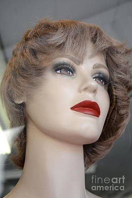 Photograph - Mannequin Art - Female Mannequin Face With Red Lips by Kathy Fornal