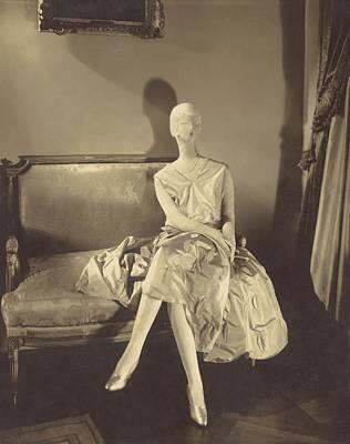 Cross Legged Photograph - Mannequin Wearing A Taffeta Dress by Edward Steichen