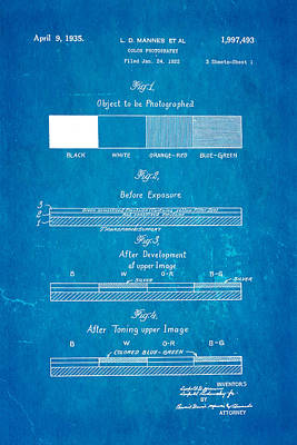 Retired Photograph - Mannes Color Photography Patent Art 1935 Blueprint by Ian Monk