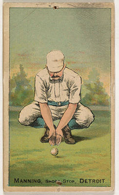 Baseball Cards Drawing - Manning, Shortstop, Detroit by Issued by D. Buchner & Co., New York