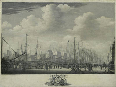 Manning Drawing - Manning The Fleet In The Harbor Of Flushing by Litz Collection