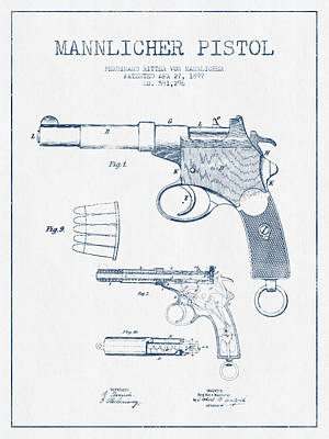 Mannlicher Pistol Patent Drawing From 1897  -  Blue Ink Art Print by Aged Pixel