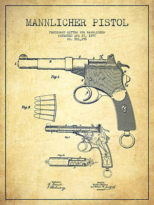 Mannlicher Pistol Patent Drawing From 1897 - Vintage Art Print by Aged Pixel