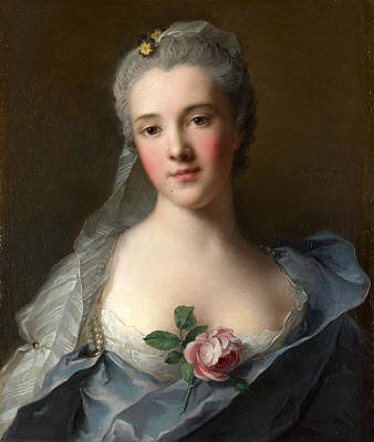 Grey Dress Painting - Manon Balletti by Jean-Marc Nattier