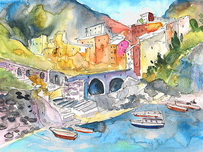 Travel Sketch Drawing - Manorola In Italy 01 by Miki De Goodaboom