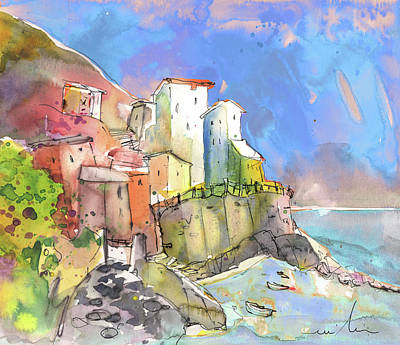 Townscapes Drawing - Manorola In Italy 05 by Miki De Goodaboom
