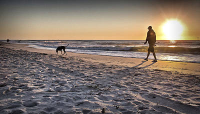 Man's Best Friend On Beach Art Print