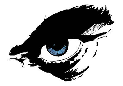 Man's Blue Angry Eye Art Print by Nenad Cerovic