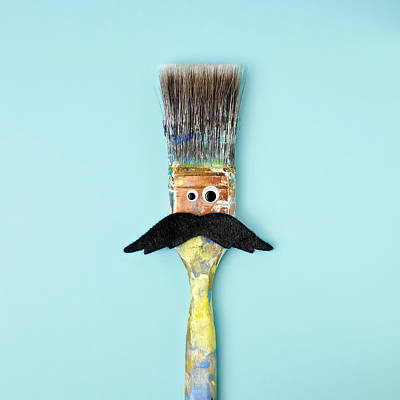 Blue Background Photograph - Mans Face Crafted Onto Paintbrush by Juj Winn