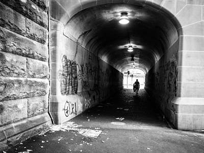 Religious Artist Photograph - Man's Silhouette In Urban Tunnel Black And White by Kaleidoscopik Photography