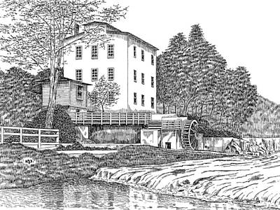 Grist Mill Drawing - Mansfield Mill by Robert Powell