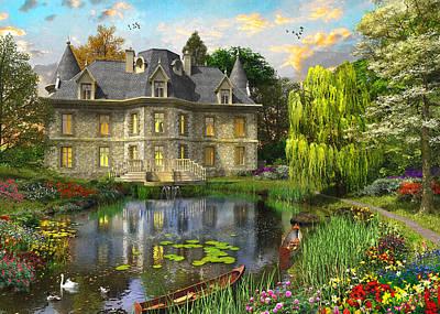 Swans... Painting - Mansion Lake by Dominic Davison