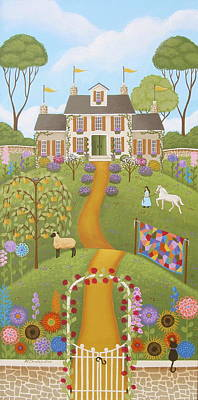 Mansion Painting - Mansion Over The Hilltop by Mary Charles