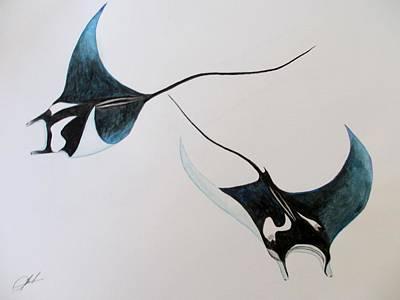 Devil Ray Painting - Manta-devilrays by Jack  Bol