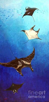 Devil Ray Painting - Manta Rays by Fred-Christian Freer