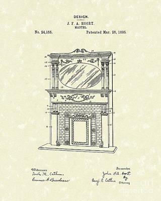 Drawing - Mantel 1895 Patent Art by Prior Art Design