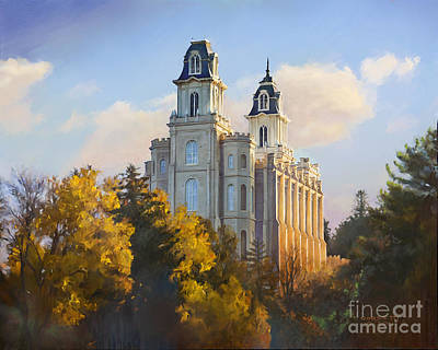 Worship God Painting - Manti Temple by Rob Corsetti