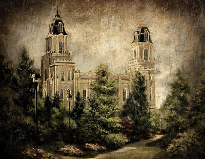 Painting - Manti Utah Temple-pathway To Heaven Antique by Marcia Johnson